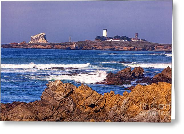 Coast Highway One Greeting Cards - Piedras Blancas Lighthouse Greeting Card by David Millenheft