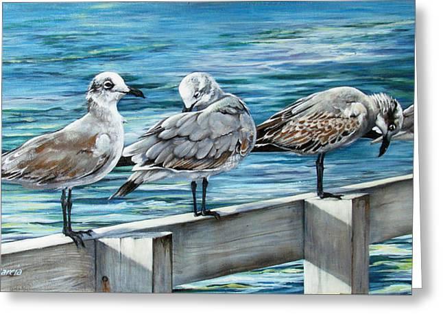 Pier Gulls Greeting Card by Joan Garcia