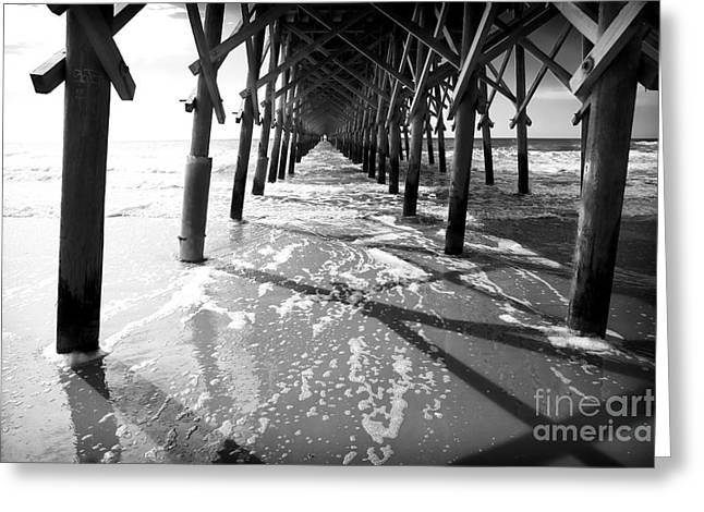 Wood Pier Greeting Cards - Pier Lines Greeting Card by John Rizzuto