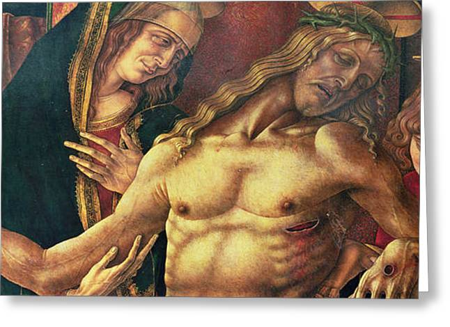 Gospel Greeting Cards - Pieta Greeting Card by Carlo Crivelli