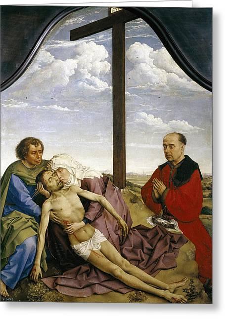 Rogier Van Der Weyden Greeting Cards - Pieta Greeting Card by Rogier van der Weyden