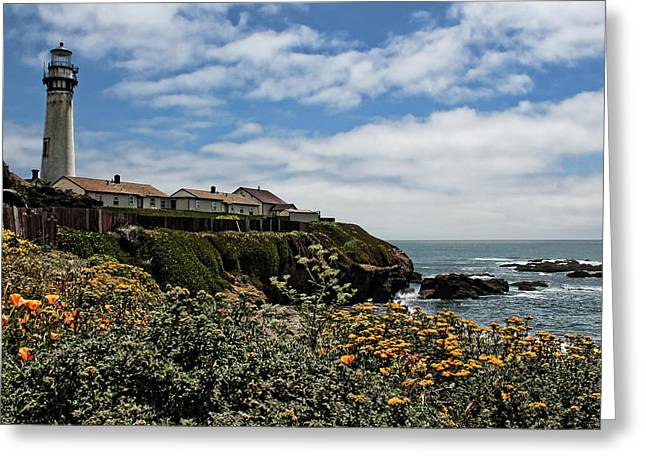Ocean Landscape Greeting Cards - Pigeon Point Lighthouse Greeting Card by Judy Vincent