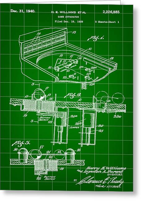 Basement Greeting Cards - Pinball Machine Patent 1939 - Green Greeting Card by Stephen Younts