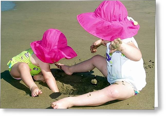 Sun Hat Greeting Cards - Pink Hats Greeting Card by Ellen Henneke