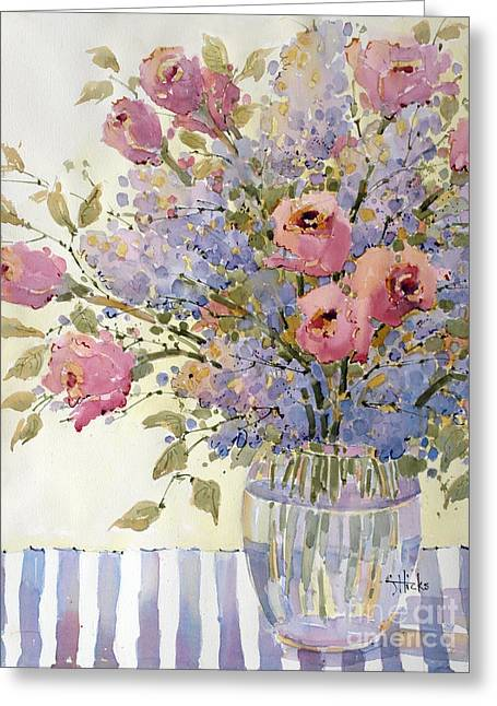 Pink Roses And Lilacs Greeting Card by Joyce Hicks