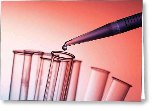 Pipette And Test Tubes Greeting Card by Wladimir Bulgar