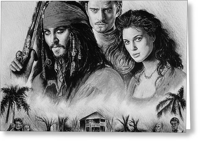 Johnny Depp Poster Greeting Cards - Pirates Greeting Card by Andrew Read