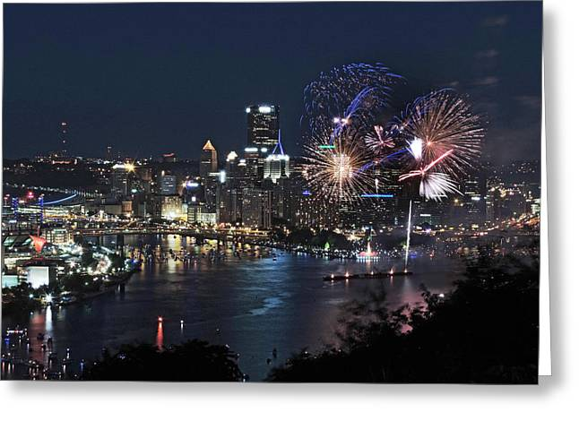 Pittsburgh Skyline.fireworks Greeting Cards - Pittsburgh Fireworks Greeting Card by Cityscape Photography