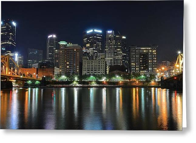 Clemente Greeting Cards - Pittsburgh Panorama Greeting Card by Frozen in Time Fine Art Photography