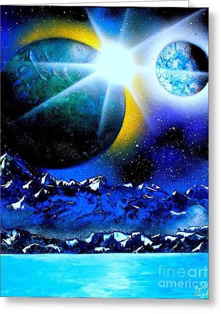 Outer Space Paintings Greeting Cards - 2 planets 4665 - E Greeting Card by Greg Moores