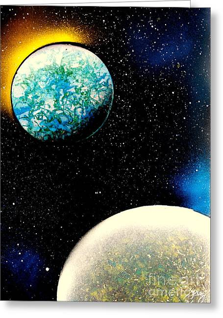 Outer Space Paintings Greeting Cards - 2 Planets - E Greeting Card by Greg Moores