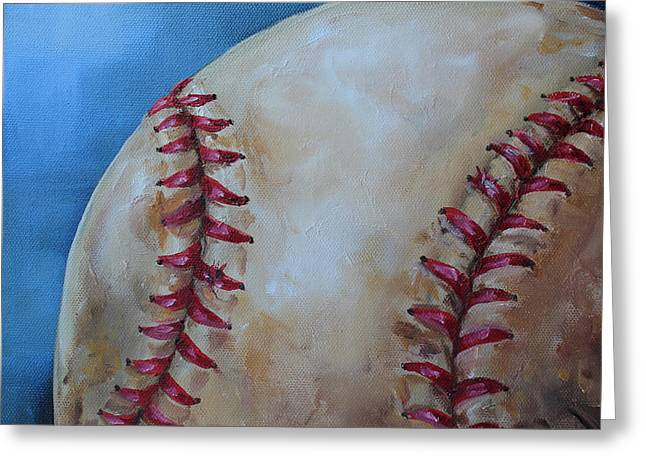 Baseball Paintings Greeting Cards - Play Ball Greeting Card by Kristine Kainer