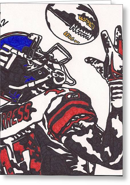 Player Drawings Greeting Cards - Plexico Burress Greeting Card by Jeremiah Colley