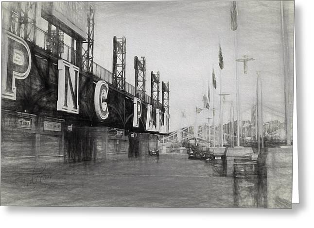 Pnc Park Digital Art Greeting Cards - PNC Park Riverwalk Pencil Sketch Look Greeting Card by Stephen Falavolito