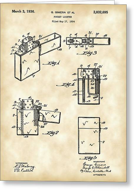 Lighter Greeting Cards - Pocket Lighter Patent 1934 - Vintage Greeting Card by Stephen Younts