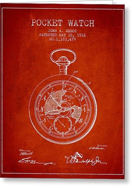 Pocket Watch Greeting Cards - Pocket Watch Patent from 1916 Greeting Card by Aged Pixel