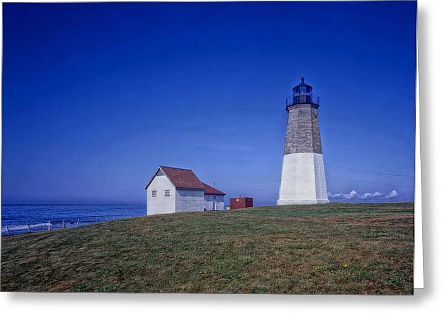 Historic Home Greeting Cards - Point Judith Light - Narragansett Bay Greeting Card by Mountain Dreams