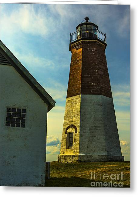 New England Lighthouse Greeting Cards - Point Judith Lighthouse Greeting Card by Diane Diederich