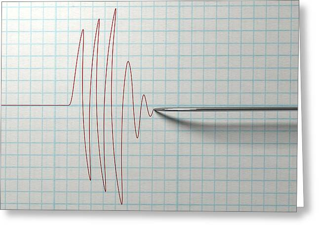 Earthquake Greeting Cards - Polygraph Needle And Drawing Greeting Card by Allan Swart