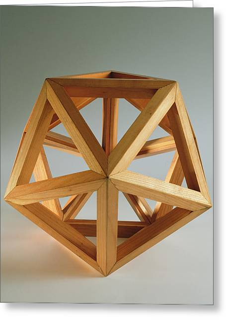 Wooden Sculpture Greeting Cards - Polyhedron Wood Greeting Card by Italian School