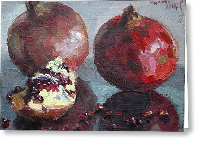 Life Painting Greeting Cards - Pomegranates Greeting Card by Ylli Haruni
