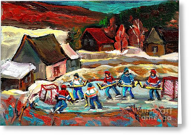 Hockey Paintings Greeting Cards - Pond Hockey 3 Greeting Card by Carole Spandau