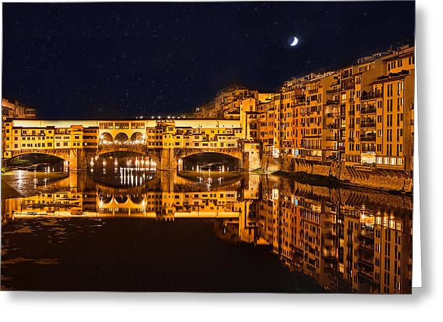 Italian Evening Greeting Cards - Ponte Vecchio Nightscape Greeting Card by Susan  Schmitz