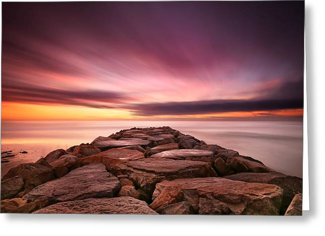 California Art Greeting Cards - Ponto Jetty Sunset 3 Greeting Card by Larry Marshall