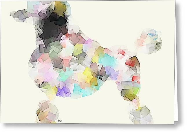 Dog Abstract Art Print Greeting Cards - Poodle Dog  Greeting Card by Bri Buckley