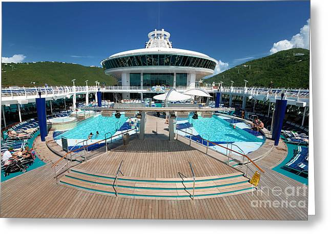 Pool Deck Greeting Cards - Pool Deck Adventure of the Seas Greeting Card by Amy Cicconi