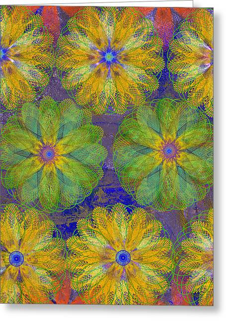 Geometric Effect Mixed Media Greeting Cards - Pop Spiral Floral 18 Greeting Card by Ricki Mountain