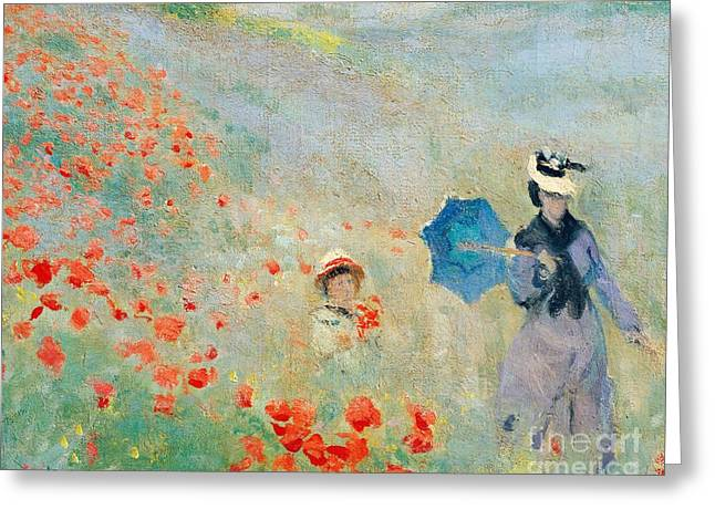 Poppies At Argenteuil Greeting Card by Claude Monet