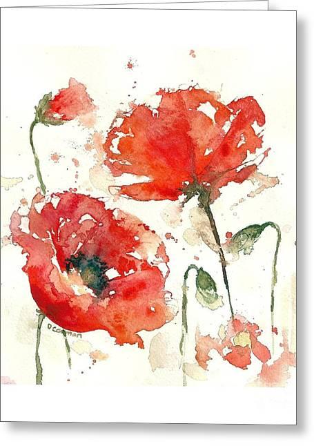 Loose Style Paintings Greeting Cards - Poppies Greeting Card by Deborah Carman