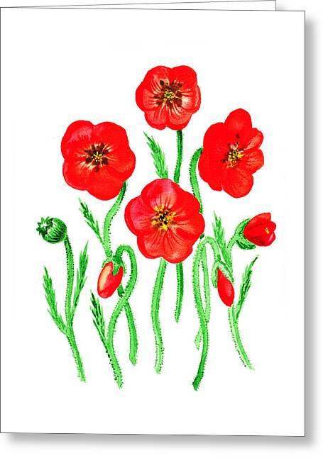 Poppies Greeting Card by Irina Sztukowski
