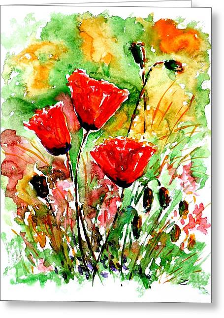 Best Selling Flower Art Greeting Cards - Poppy Lawn Greeting Card by Zaira Dzhaubaeva