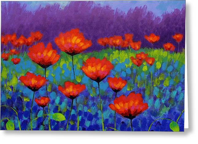 Vibrant Green Greeting Cards - Poppy Meadow Greeting Card by John  Nolan