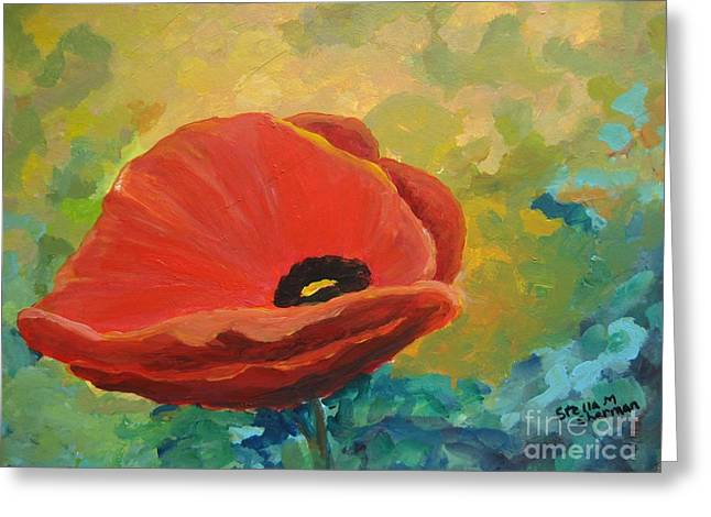 Flower Still Life Prints Greeting Cards - Poppy Greeting Card by Stella Sherman