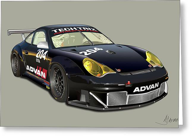 Alm Greeting Cards - Porsche 996 GT3 RSR Greeting Card by Alain Jamar