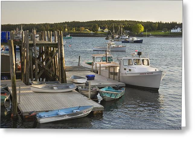 Maine Landscape Greeting Cards - Port Clyde Maine boats and Harbor Greeting Card by Keith Webber Jr