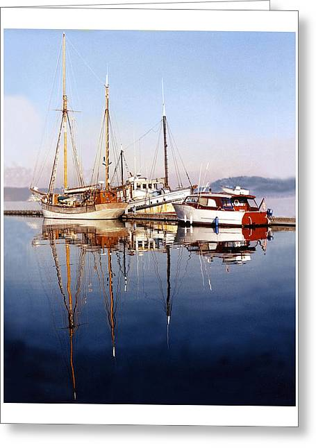 Boats At The Dock Greeting Cards - Reflections Port Orchard Marina Greeting Card by Jack Pumphrey