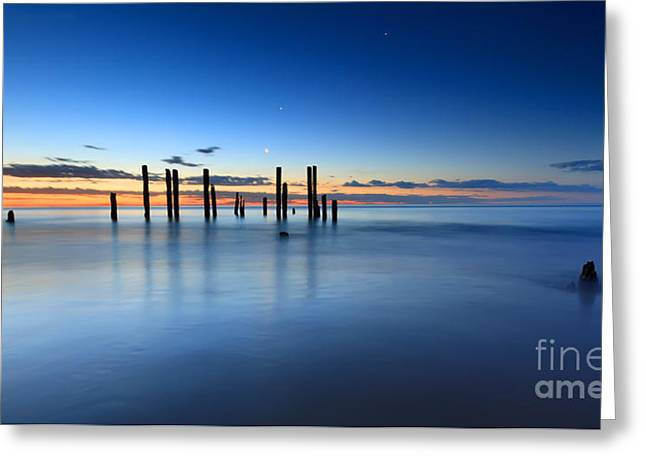 Ruins Photographs Greeting Cards - Port Willunga Jetty Ruins Sunset Greeting Card by Bill  Robinson