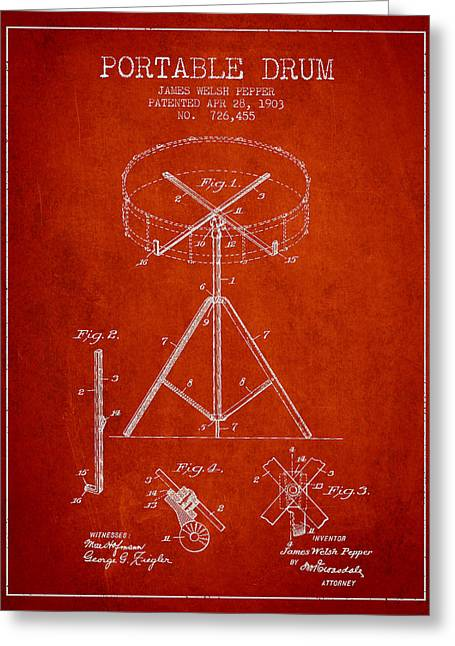 Technical Digital Art Greeting Cards - Portable Drum patent Drawing from 1903 - Red Greeting Card by Aged Pixel