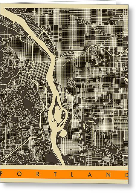 Portland Greeting Cards - Portland Map Greeting Card by Jazzberry Blue