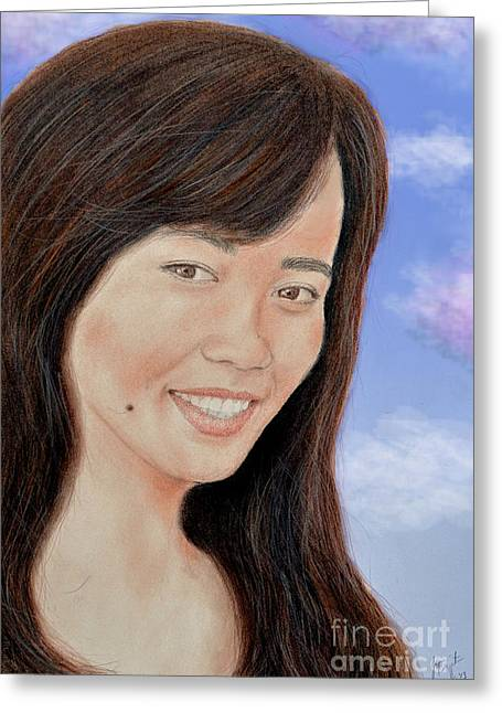 Beauty Mark Mixed Media Greeting Cards - Portrait of a Filipina Beauty Greeting Card by Jim Fitzpatrick