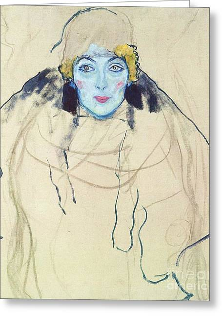 Conversations Drawings Greeting Cards - Portrait of a Lady Greeting Card by Pg Reproductions