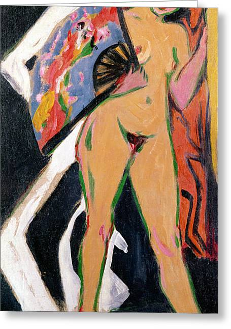 Primitive Greeting Cards - Portrait of a Woman Greeting Card by Ernst Ludwig Kirchner