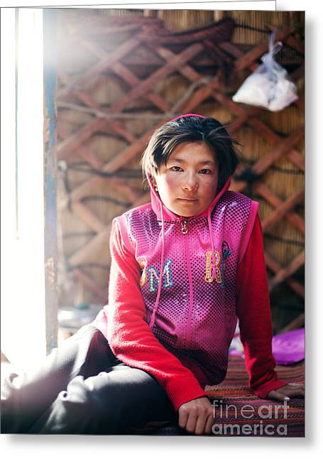 Ethnical Greeting Cards - Portrait of young kyrgyz girl inside a yurt China Greeting Card by Matteo Colombo