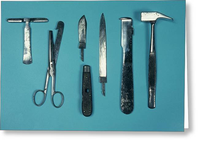 Post Mortem Instruments Greeting Card by Science Photo Library