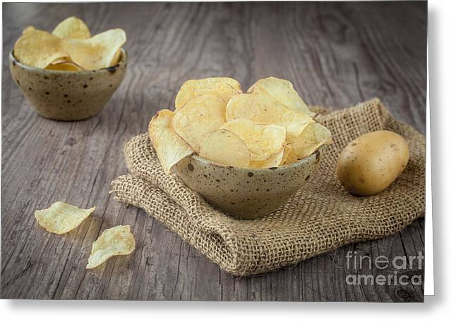 Wooden Bowl Greeting Cards - Potato chips Greeting Card by Sabino Parente
