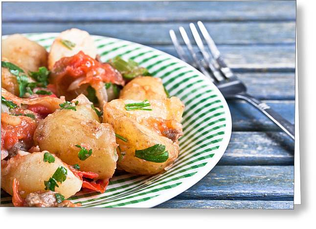 Menu Greeting Cards - Potato dish Greeting Card by Tom Gowanlock